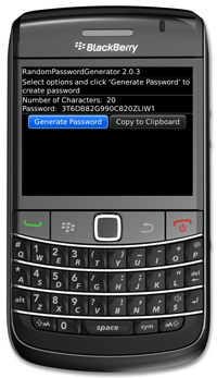 RandomPasswordGenerator for BlackBerry Version 2.0