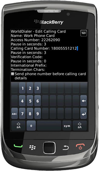 WorldDialer for BlackBerry Version 2.2
